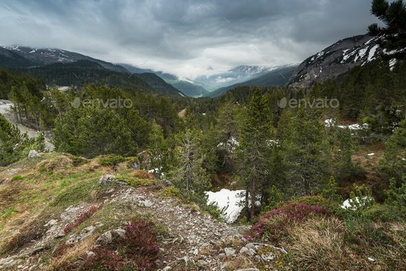 Overcast weather in Switzerland Alps peak - Stock Photo - Images