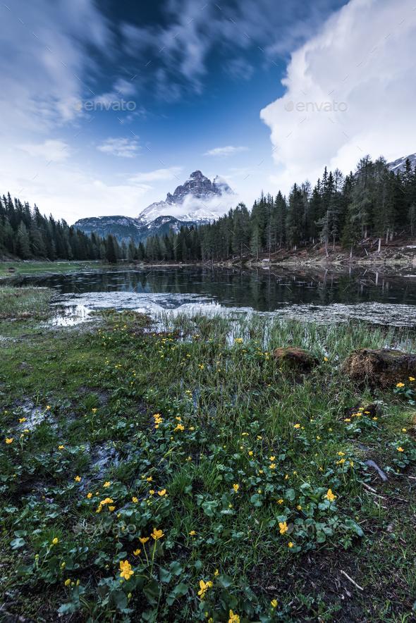 Lake Antorno, Three Peaks of Lavaredo, Tre Cime di Lavaredo, Dol - Stock Photo - Images