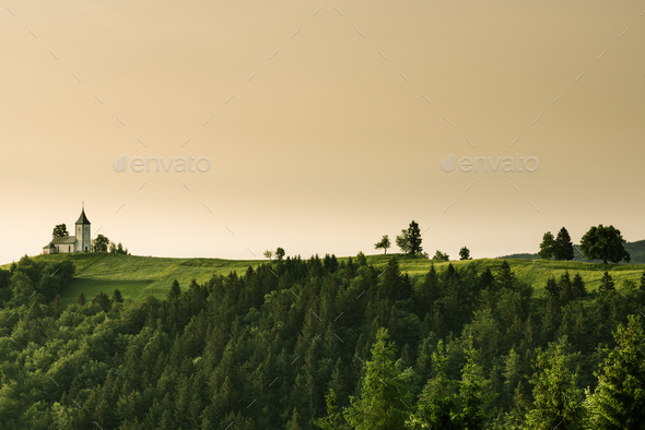 Lonely Chapel of  St. Primus and Felician, Jamnik, Slovenia - Stock Photo - Images