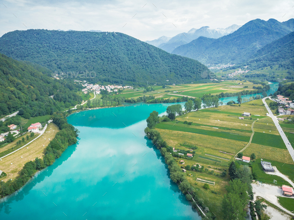 Breathtaking vista from drone at Most na Soci, Slovenia - Stock Photo - Images