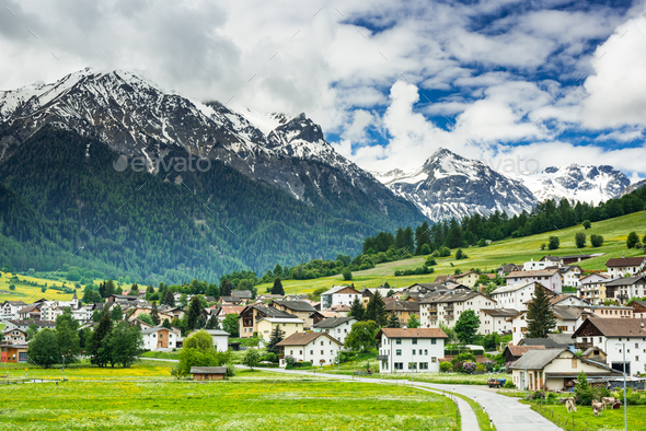 Mustair village in Switzerland Alps - Stock Photo - Images