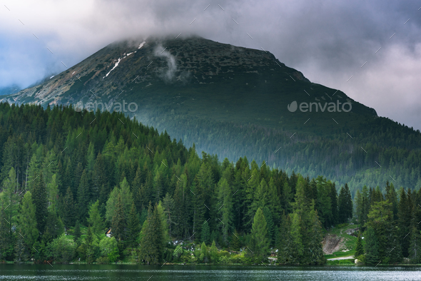 Beautiful top Slovakia destination , Strbskie Pleso lake - Stock Photo - Images