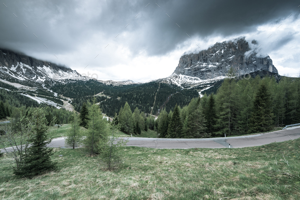 Asphalt road in South Tyrol, Gardena Pass, Italy - Stock Photo - Images