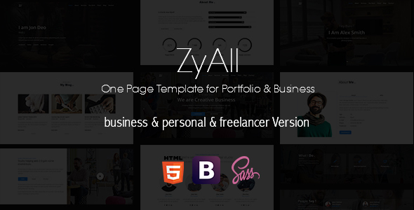 ZYAll – One Page Template for Portfolio & Business