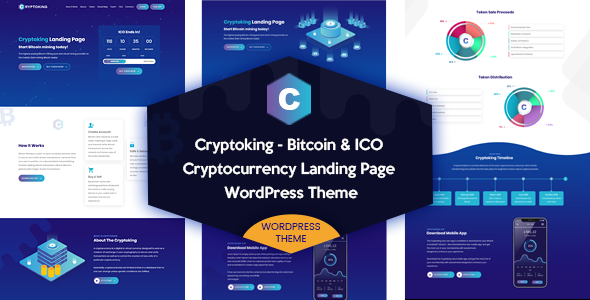 Cryptoking – Bitcoin & ICO Landing Page WordPress Theme