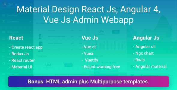 Image of Material Design React, Vue, Angular Admin Web App with HTML Admin and Multipurpose Template