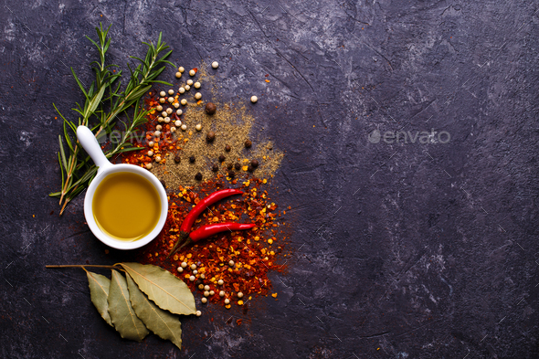 Herbs, oil and spices - Stock Photo - Images