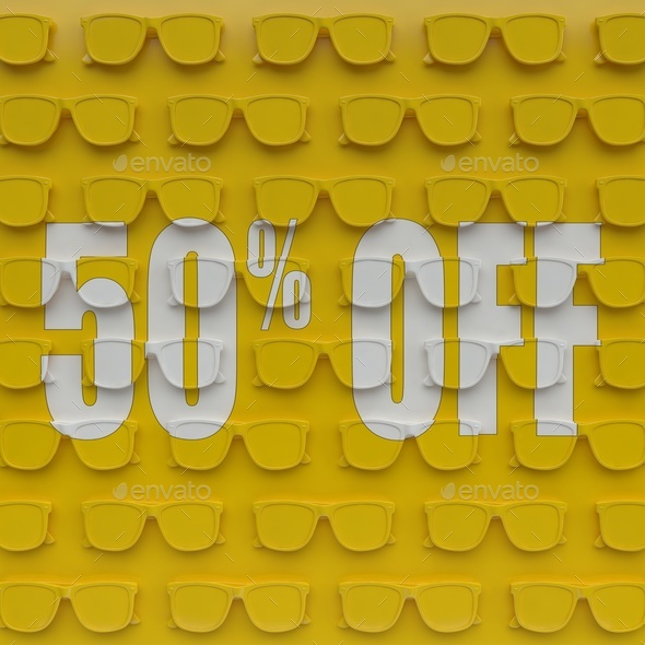 Discount 50 %. 3D illustration on the yellow base of glasses. - Stock Photo - Images