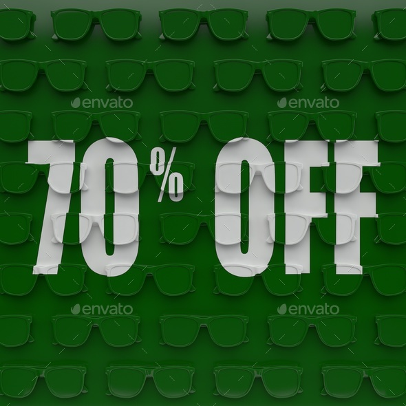 Discount 70 %. 3D illustration on the green base of glasses. - Stock Photo - Images