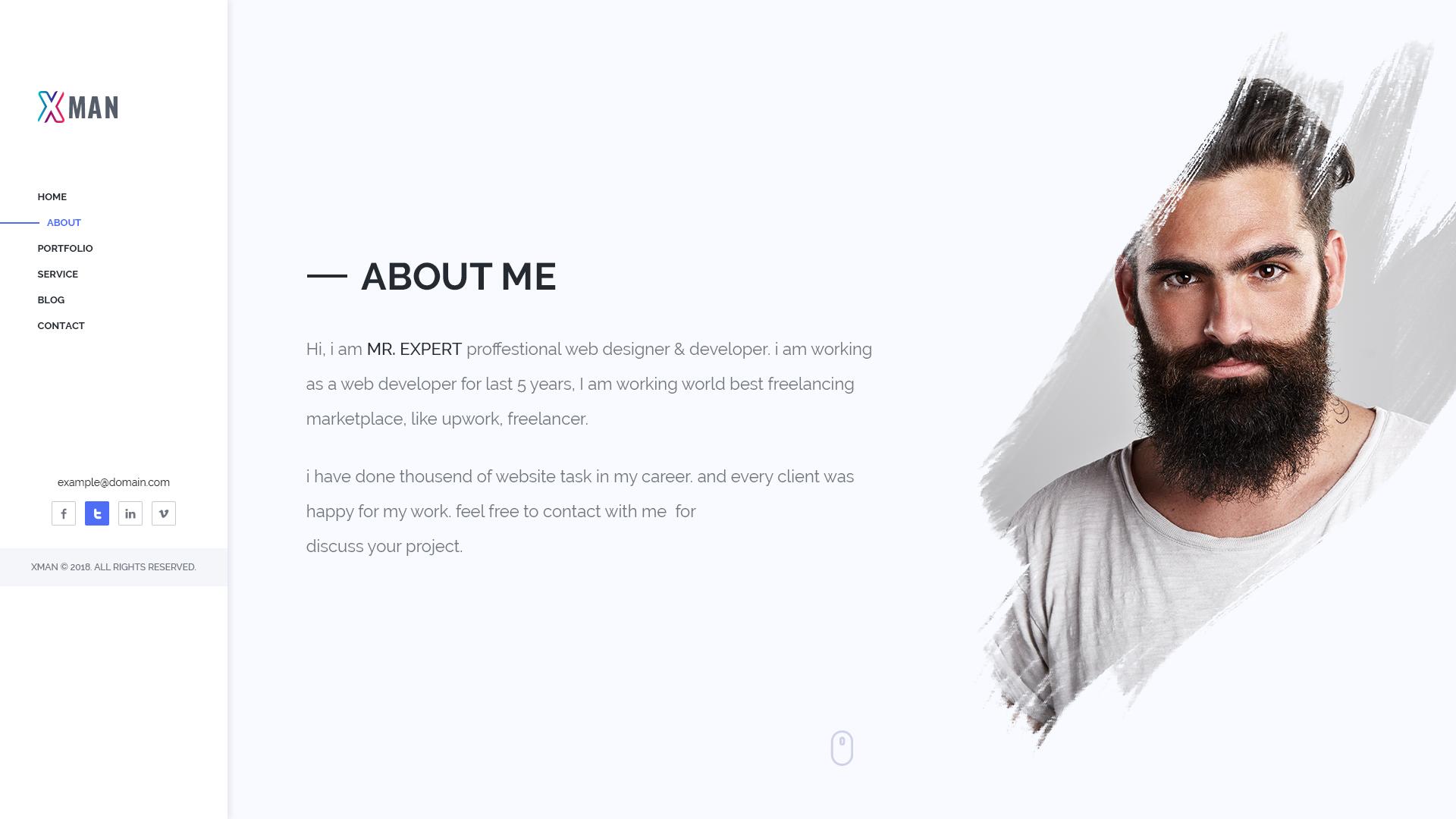 XMAN - Minimal Personal Portfolio PSD Template