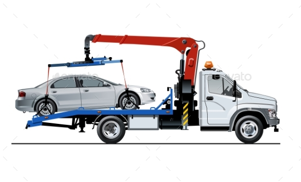 Vector Tow Truck Template Isolated on White - Man-made Objects Objects
