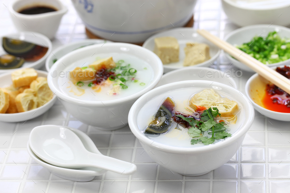 congee, chinese rice porridge - Stock Photo - Images
