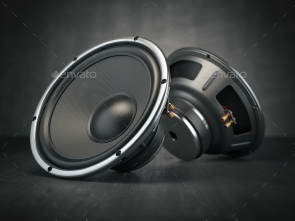 Sound speakers. Multimedia acoustic sound loudspeakers on black - Stock Photo - Images
