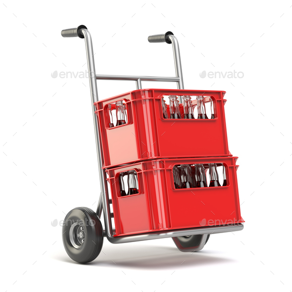 Bottles with soda or cola in the red strage crate for bottles on - Stock Photo - Images