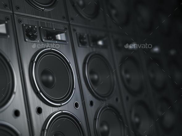 Multimedia  acoustic sound speaker system. Music  concept backgr - Stock Photo - Images