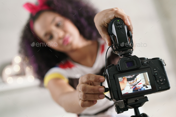 Dslr Camera For Woman Recording Vlog and Tutorial - Stock Photo - Images