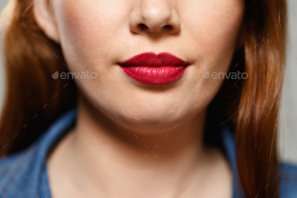 Facial Expressions Of Young Redhead Woman Closeup - Stock Photo - Images
