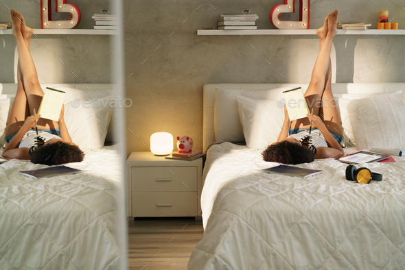 Woman Studying In Bed Doing Homework At Sunset - Stock Photo - Images