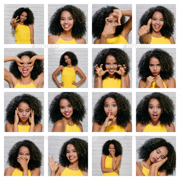 Facial Expressions Of Young Black Woman On Brick Wall - Stock Photo - Images