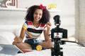 Girl Recording Vlog Video Blog At Home With Camera - PhotoDune Item for Sale
