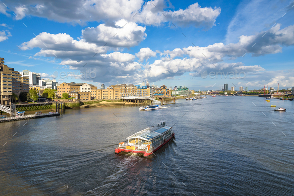 Boats on River Thames in London - Stock Photo - Images