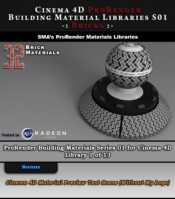 32 x ProRender PBR Brick Materials for Cinema 4D - 3DOcean Item for Sale