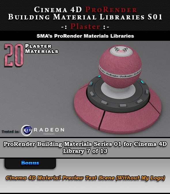 20 x ProRender PBR Plaster Materials for Cinema 4D - 3DOcean Item for Sale