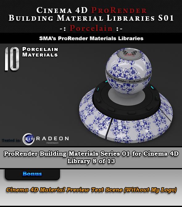 10 x ProRender PBR Porcelain Materials for Cinema 4D - 3DOcean Item for Sale