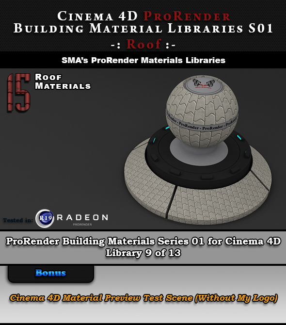 15 x ProRender PBR Roof Materials for Cinema 4D - 3DOcean Item for Sale