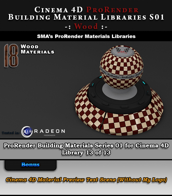 18 x ProRender PBR Wood Materials for Cinema 4D - 3DOcean Item for Sale