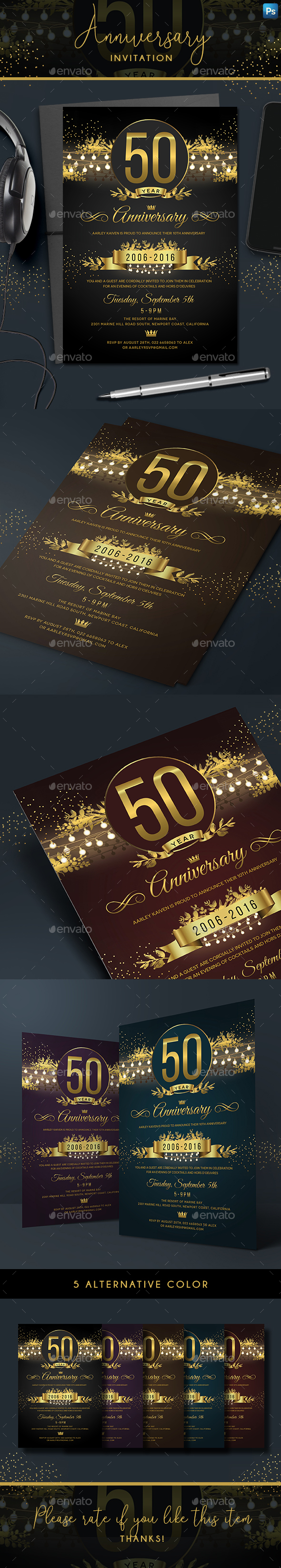 String Lights Anniversary Invitation - Anniversary Greeting Cards