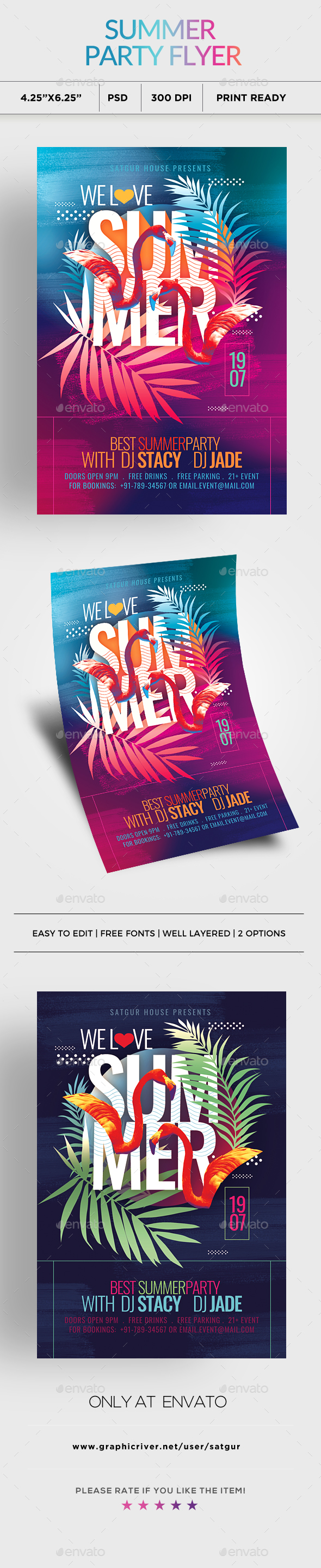 We Love Summer Party Flyer - Clubs & Parties Events