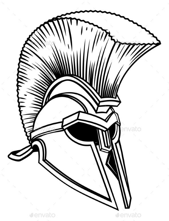 Spartan Trojan Roman Gladiator Helmet - Miscellaneous Vectors