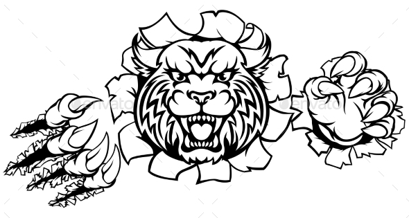 Wildcat Angry Mascot Background Claws Breakthrough - Sports/Activity Conceptual