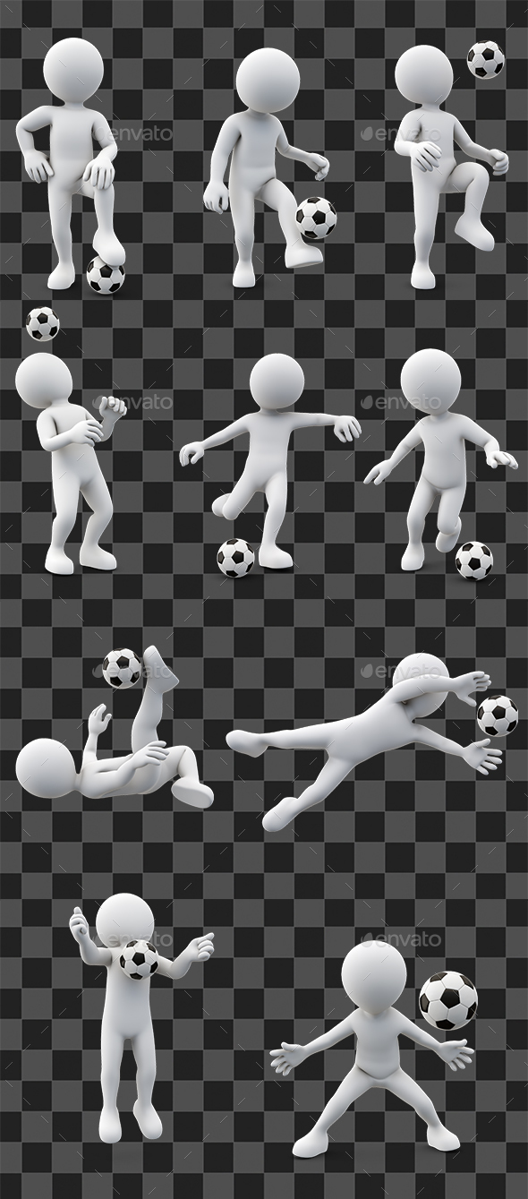 Stickman Soccer 10 Poses - Characters 3D Renders