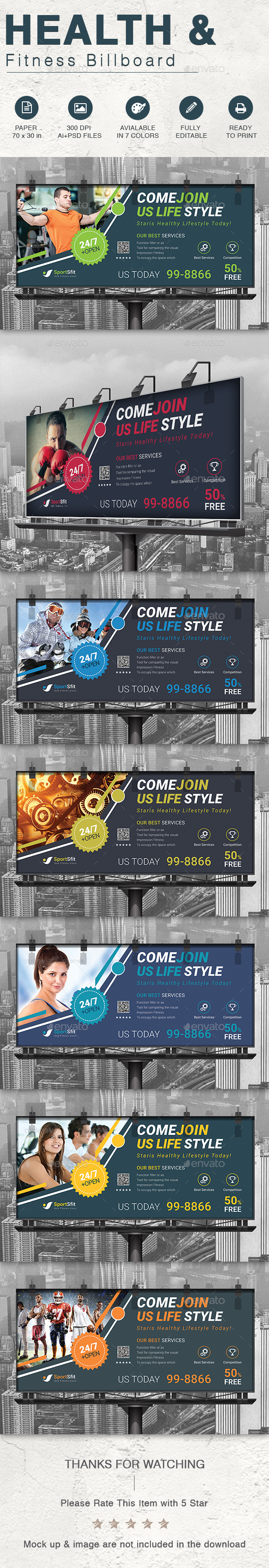 Health & Fitness Billboard - Signage Print Templates