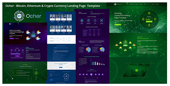 Ocher - Bitcoin, Ethereum & Cryptocurrency Landing Page  Template - Business Corporate
