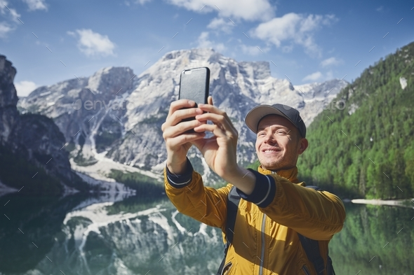 Tourist taking selfie - Stock Photo - Images