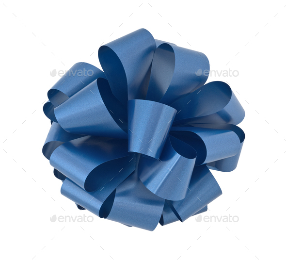 Blue Gift Bow - Stock Photo - Images
