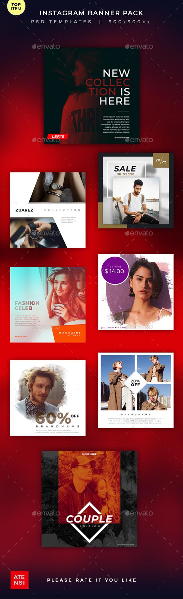 Instagram Banner Pack - Social Media Web Elements