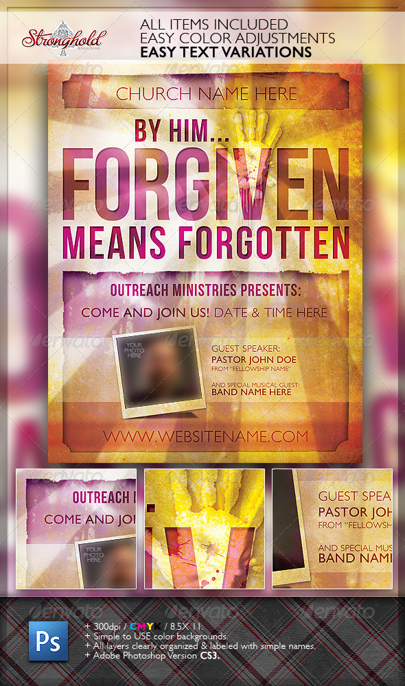 Forgiven Church Flyer Template   Church Flyers