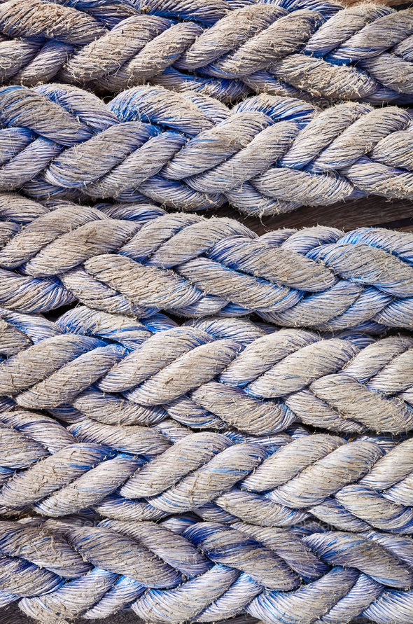 Close up picture of frayed boat ropes. - Stock Photo - Images