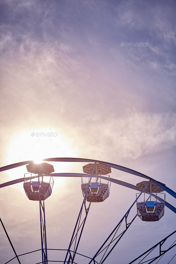 Ferris wheel at sunset. - Stock Photo - Images