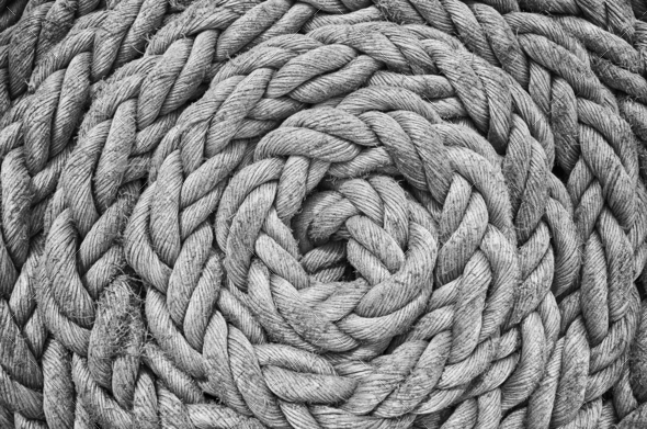 Old sailing ship rope. - Stock Photo - Images