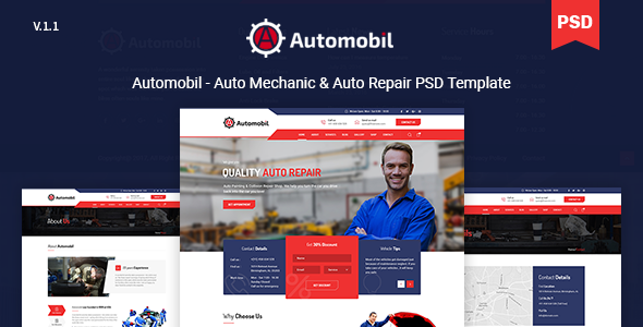 Automobil - Auto Mechanic & Auto Repair PSD Template - Business Corporate