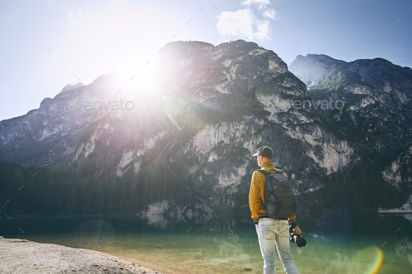 Photographer in mountains - Stock Photo - Images