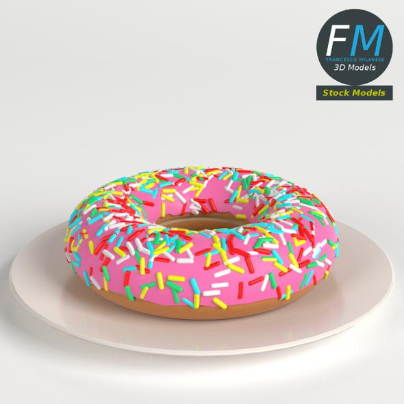 Stylized Donut with Sprinkles - 3DOcean Item for Sale
