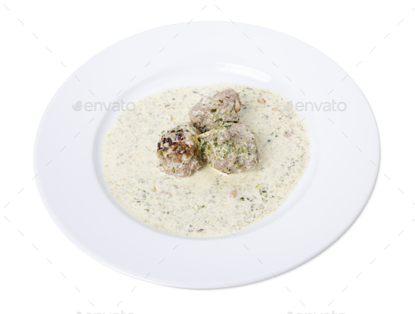 Meatballs in white sauce. - Stock Photo - Images