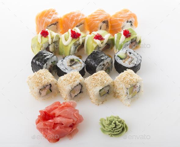 Delicious sushi rolls set. - Stock Photo - Images