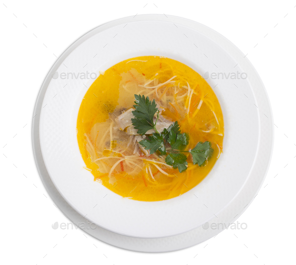Chicken soup with noodles. - Stock Photo - Images